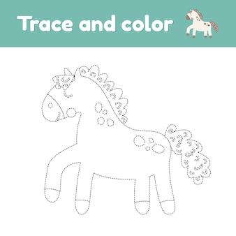 귀여운 농장 동물 말과 함께 색칠하기 책.
