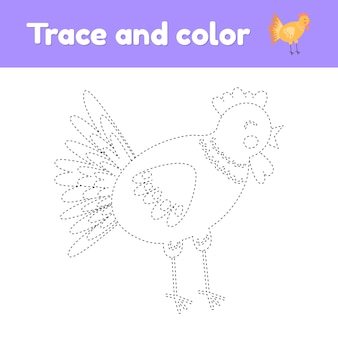 Coloring book with cute farm animal a chicken.