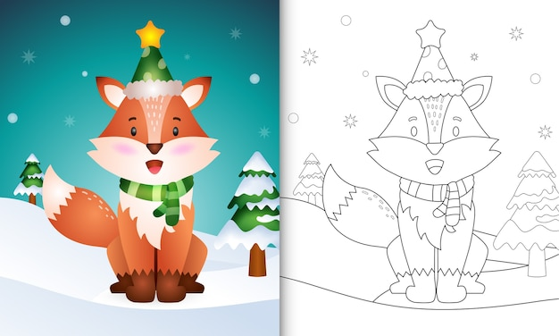 Coloring book with a cute fox christmas characters collection with a hat and scarf