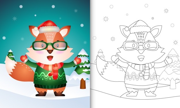 Coloring book with a cute fox christmas characters collection with a santa hat, jacket and scarf