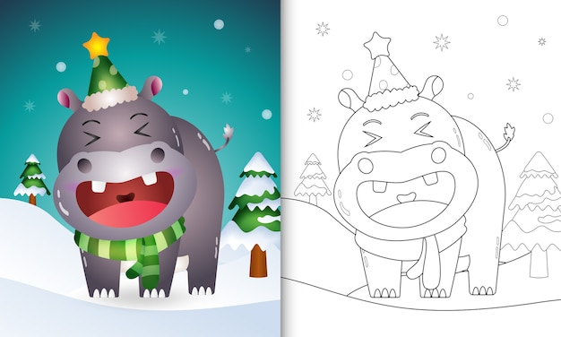 Coloring book with a cute hippo christmas characters collection with a hat and scarf