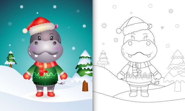 Coloring book with a cute hippo christmas characters with a santa hat, jacket and scarf