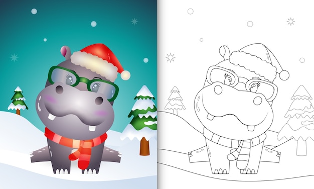 Coloring book with a cute hippo christmas characters with using santa hat and scarf