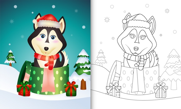 Coloring book with a cute husky dog christmas characters using santa hat and scarf in the gift box