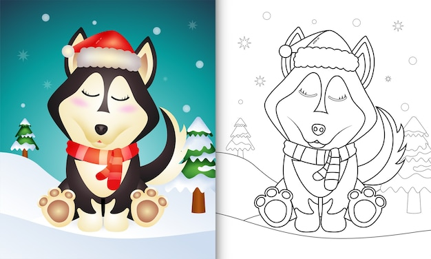 Coloring book with a cute husky dog christmas characters with a santa hat and scarf