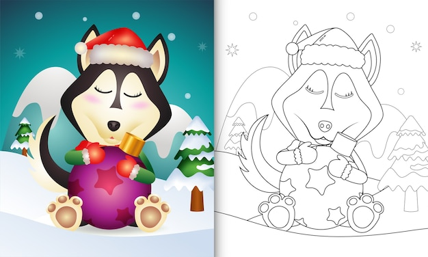 Coloring book with a cute husky dog hug christmas ball