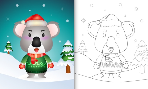 Coloring book with a cute koala christmas characters with a santa hat, jacket and scarf