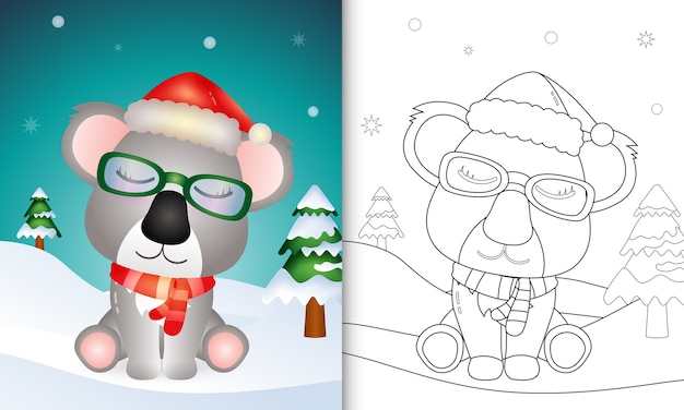 Coloring book with a cute koala christmas characters with using santa hat and scarf