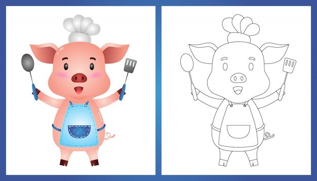 Coloring book with a cute little pig chef