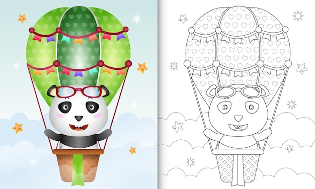 Coloring book with a cute panda illustration on hot air balloon