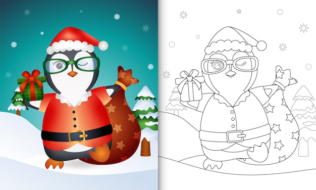 Coloring book with a cute penguin using santa clause costume