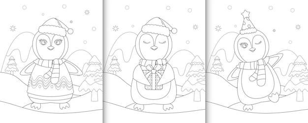 Coloring book with cute penguin