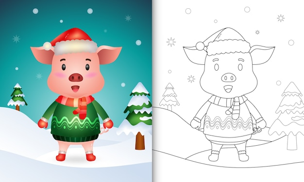 Coloring book with a cute pig christmas characters with a santa hat, jacket and scarf