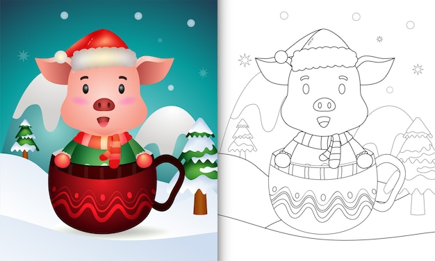Coloring book with a cute pig christmas characters with a santa hat and scarf in the cup