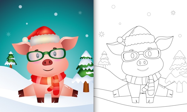Coloring book with a cute pig christmas characters with using santa hat and scarf