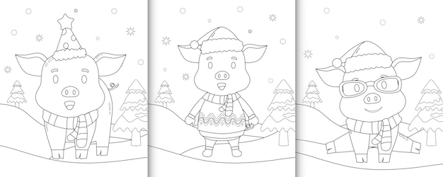 Coloring book with cute pig christmas characters