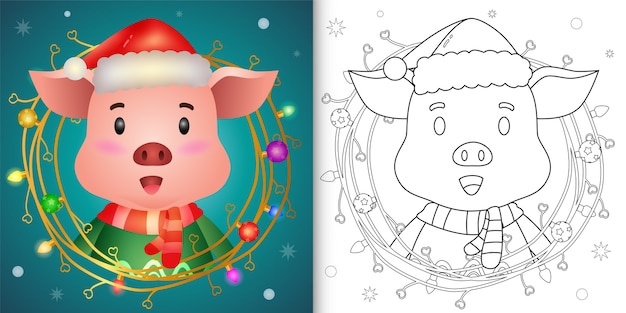 Coloring book with a cute pig with twigs decoration christmas