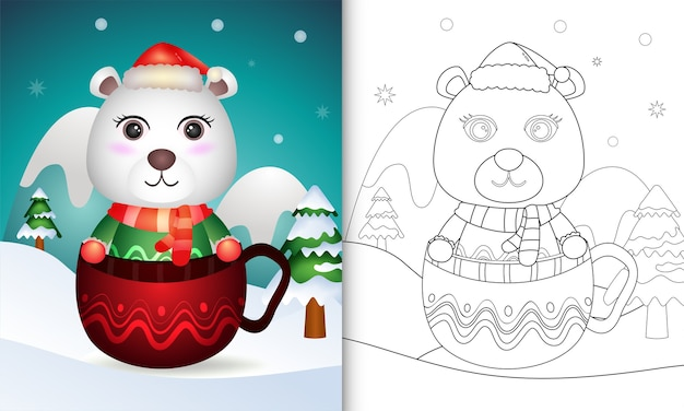 Coloring book with a cute polar bear christmas characters