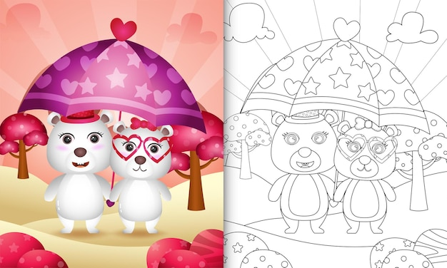 Coloring book with a cute polar bear couple holding umbrella themed valentine day