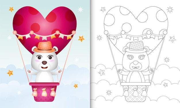 Coloring book with a cute polar bear male on hot air balloon love themed valentine day