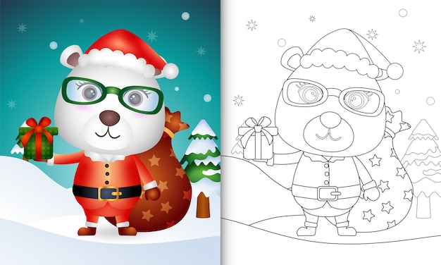 Coloring book with a cute polar bear using santa clause costume