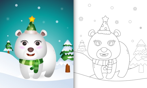 Coloring book with a cute polar bear with a hat