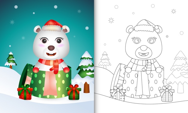 Coloring book with a cute polar bear with santa hat