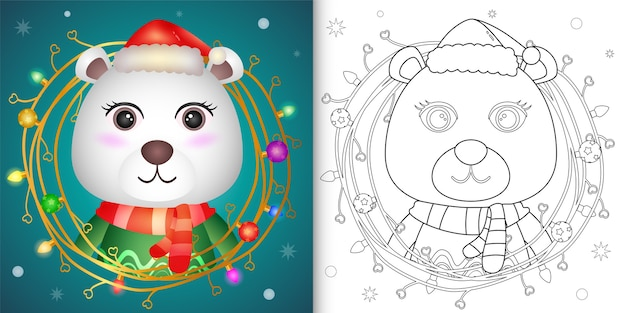 Coloring book with a cute polar bear with twigs decoration christmas