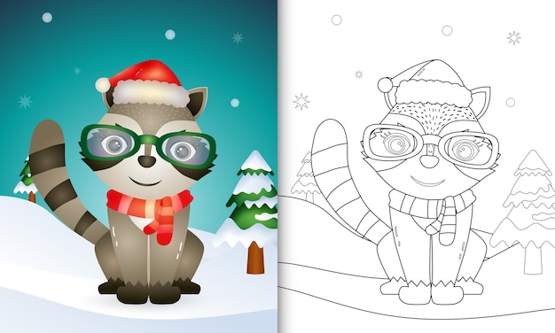 Coloring book with a cute raccoon christmas characters with using santa hat and scarf