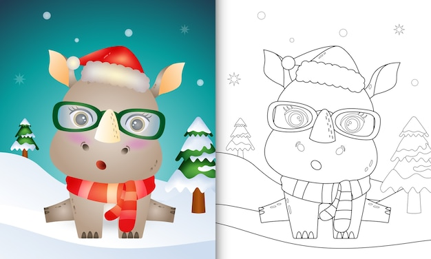 Coloring book with a cute rhino christmas characters with using santa hat and scarf