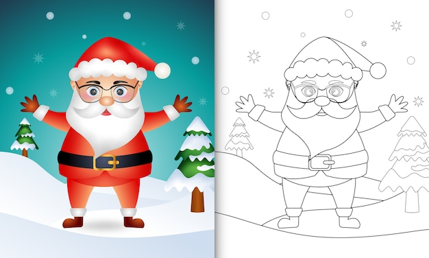 Coloring book with a cute santa claus characters