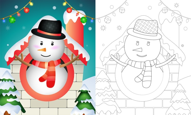 Coloring book with a cute snowman christmas characters using hat