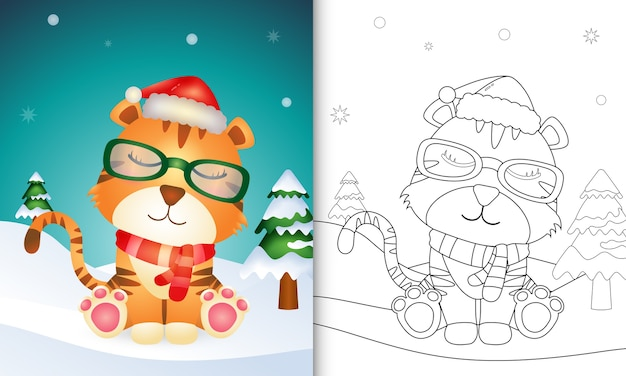 Coloring book with a cute tiger christmas characters with using santa hat and scarf