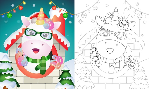 Coloring book with a cute unicorn christmas characters