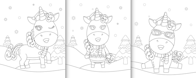Coloring book with cute unicorn christmas characters