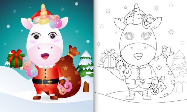 Coloring book with a cute unicorn using santa clause costume