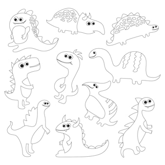 Coloring book with dinosaurs - vector illustration for children