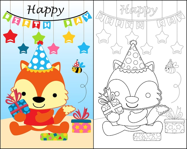 Coloring book with funny animals cartoon in birthday party