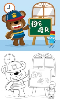 Coloring book with funny bear cartoon in class room