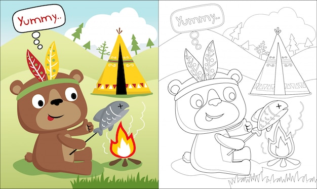 Coloring book with funny bear cartoon