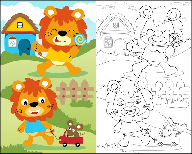 Coloring book with funny lion cartoon