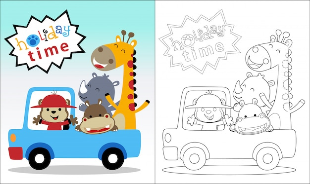 Coloring book with happy animals on vehicle