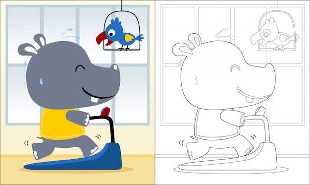 Coloring book with hippo cartoon running on a treadmill