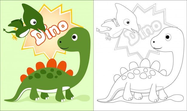 Coloring book with nice dinosaurs cartoon