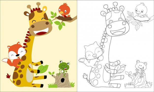 Coloring book with nice giraffe cartoon and friends