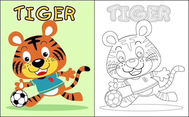 Coloring book with nice tiger