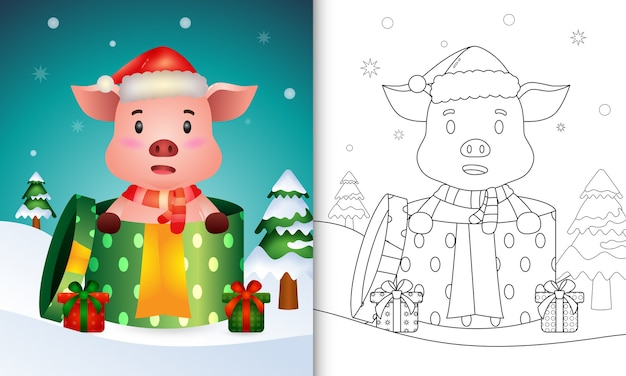 Coloring book with a pig christmas characters