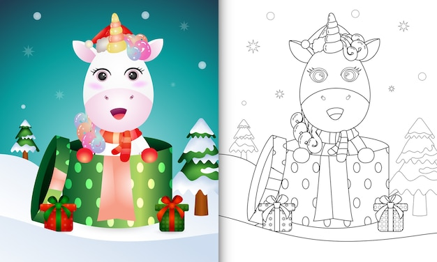 Coloring book with a unicorn christmas characters