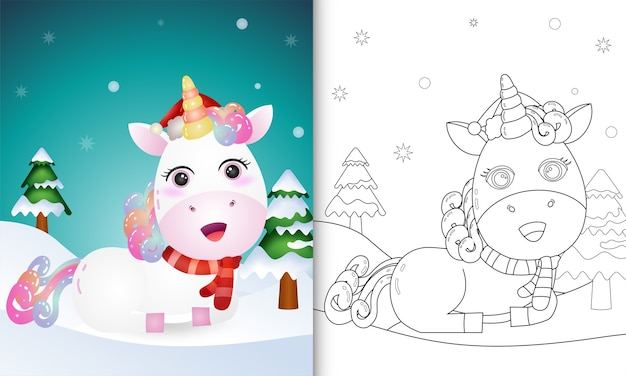 Coloring book with a unicorn deer christmas characters collection with a hat and scarf