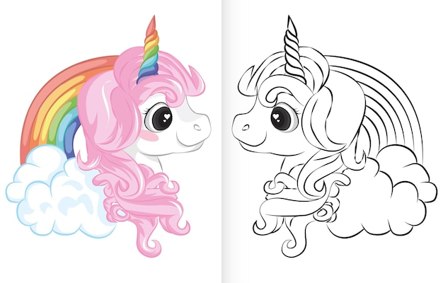 Coloring book with unicorn and rainbow cartoon